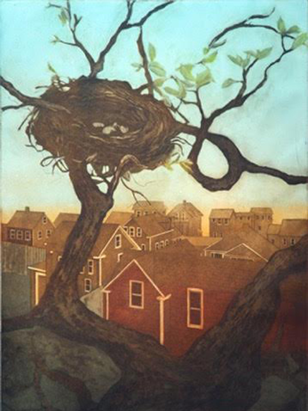 original hand pulled print with birds nest in a tree overlooking hones to the lake