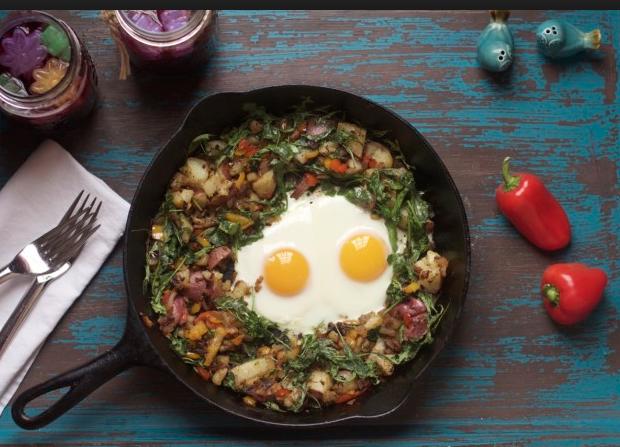 Arugula with Baked Eggs