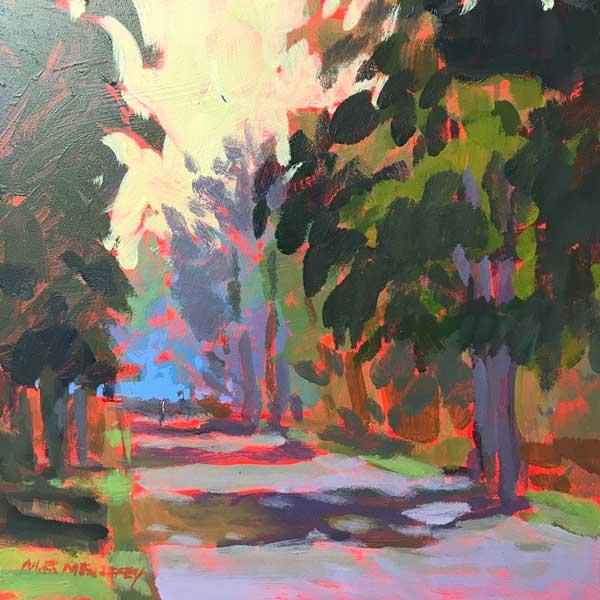 original acrylic painting of a walking path