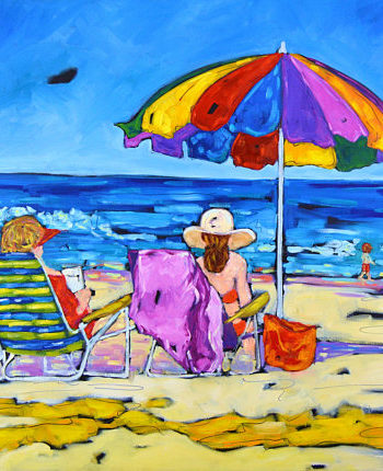 beachgoers print of original painting by Christi Dreese