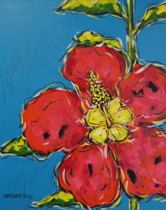 print of original Hibiscus painting by Christ Dreese
