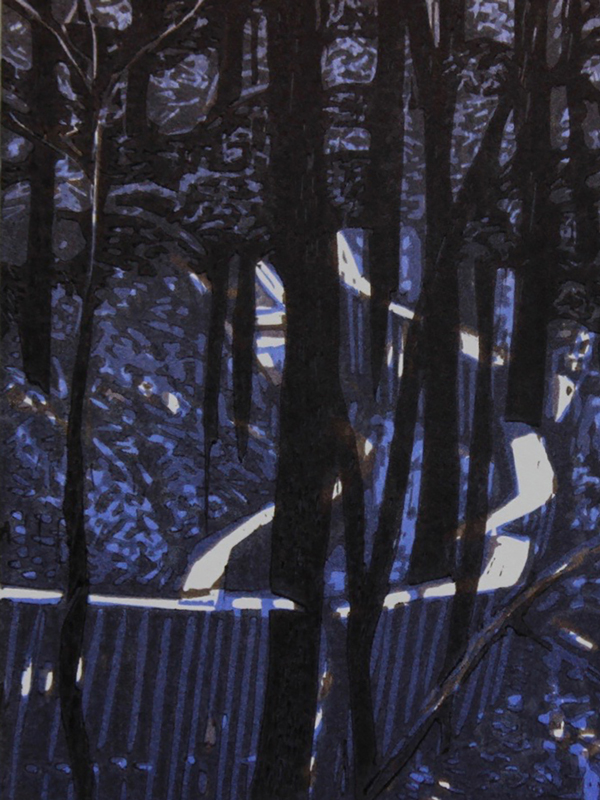 original hand pulled print of a trail through the woods