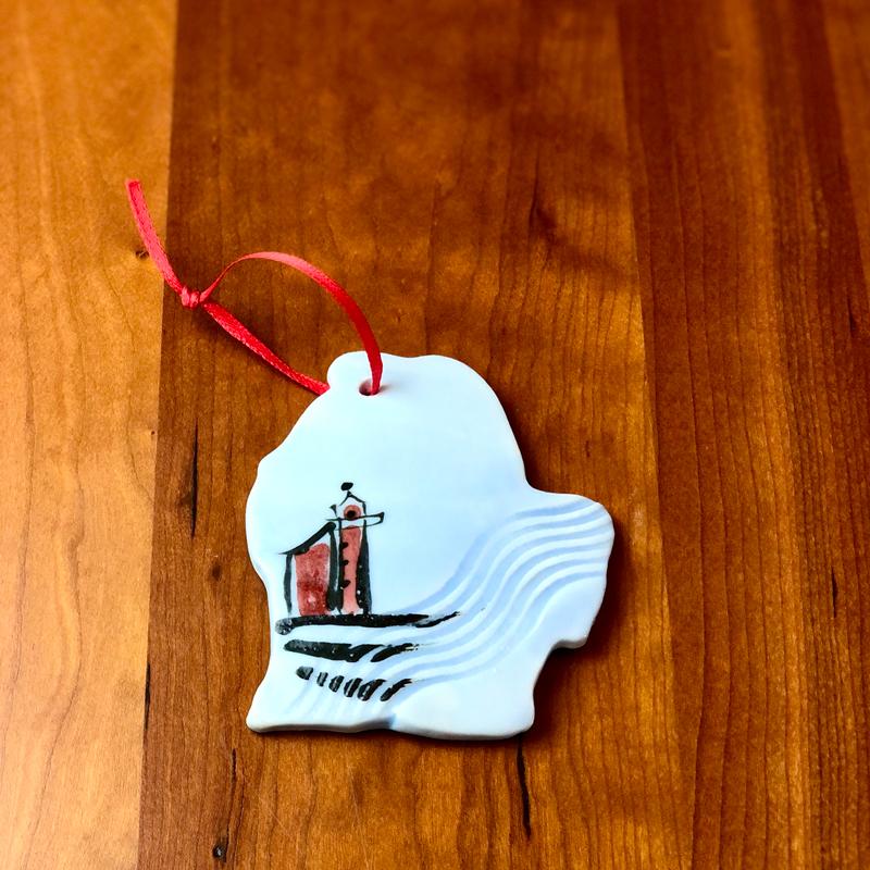 handmade ceramic michigan ornament lighthouse