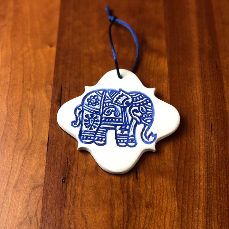handmade ceramic elephant ornament