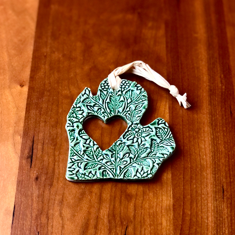 handmade ceramic michigan ornament