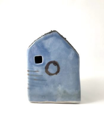 blue decorative ceramic house