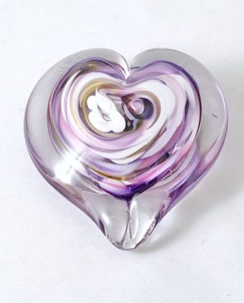 handblown glass heart in purple