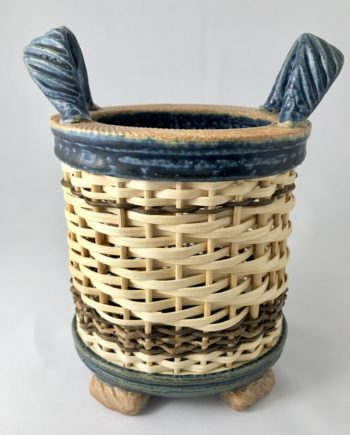 ceramic and reed oval basket