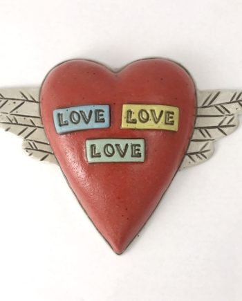 love, love, love wall tile with wings