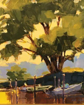 shade of the oak acrylic painting by mark mehaffey