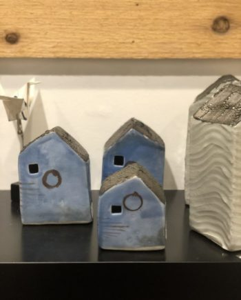 set of 3 blue houses by cyndi casemier