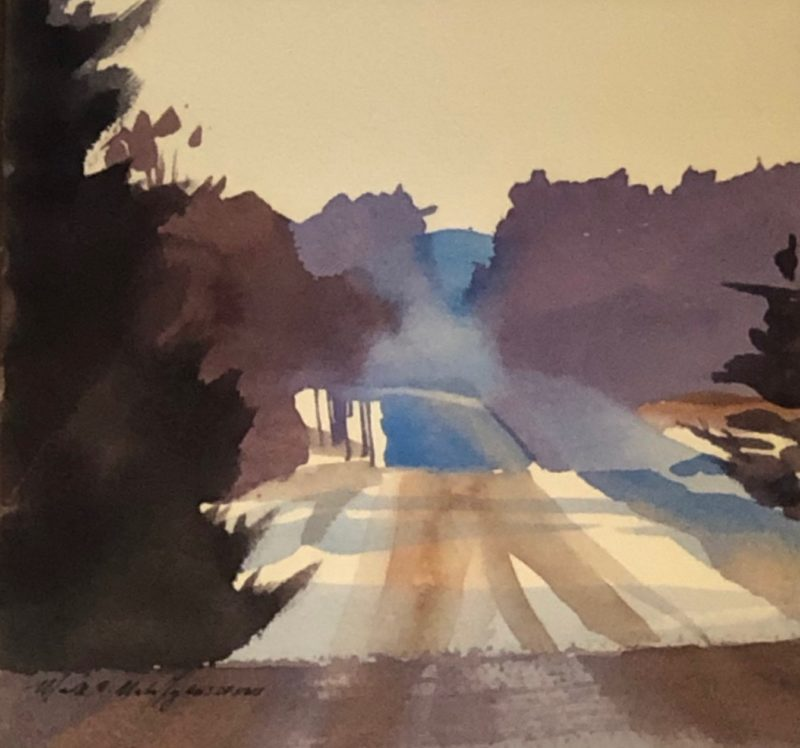 original watercolor painting of a back road in the winter