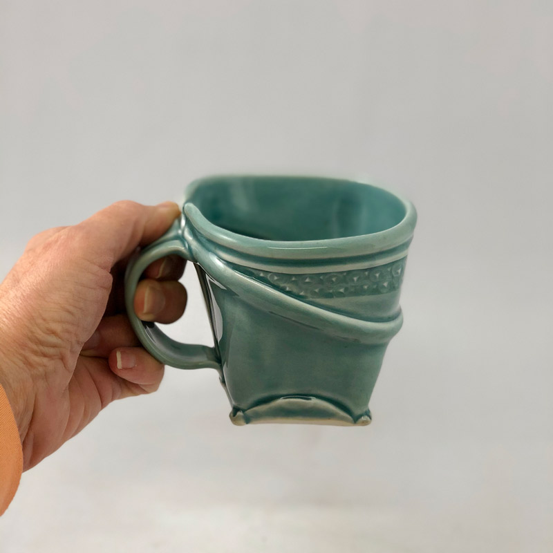 Softly squared porcelain mug by Marion Angelica