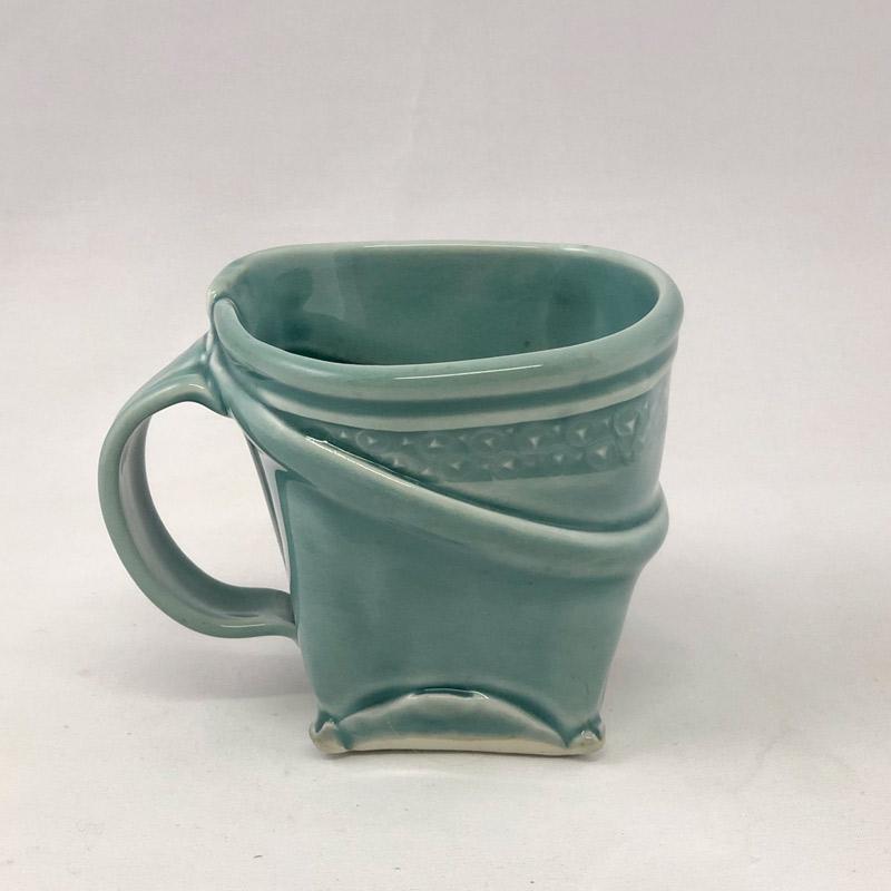 Hand built porcelain square mug by Marion Angelica