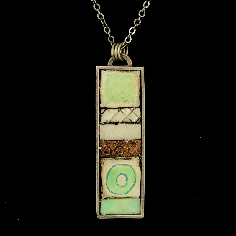 handmade pendant with enameled steel