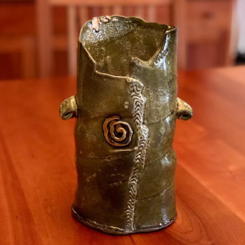 hand built green and orange vase