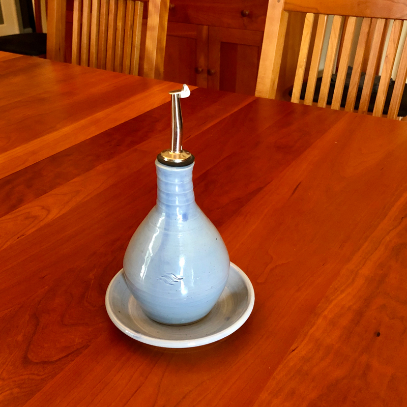 Oil Cruet with Plate handmade by Cyndi Casemier