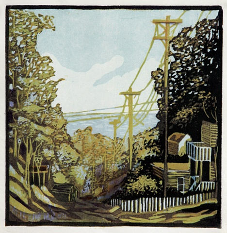 original hand pulled print of five mile hill in grand haven, mi