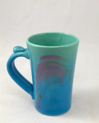 Aqua and blue tall coffee mug by Michael Kifer