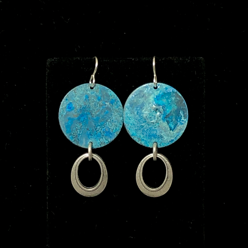 handmade blue disc earrings with oval drop charms