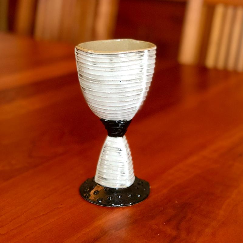 black and white handmade ceramic goblet