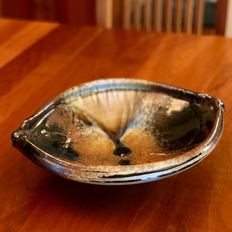 handmade wood ash glazed ceramic gondola tray
