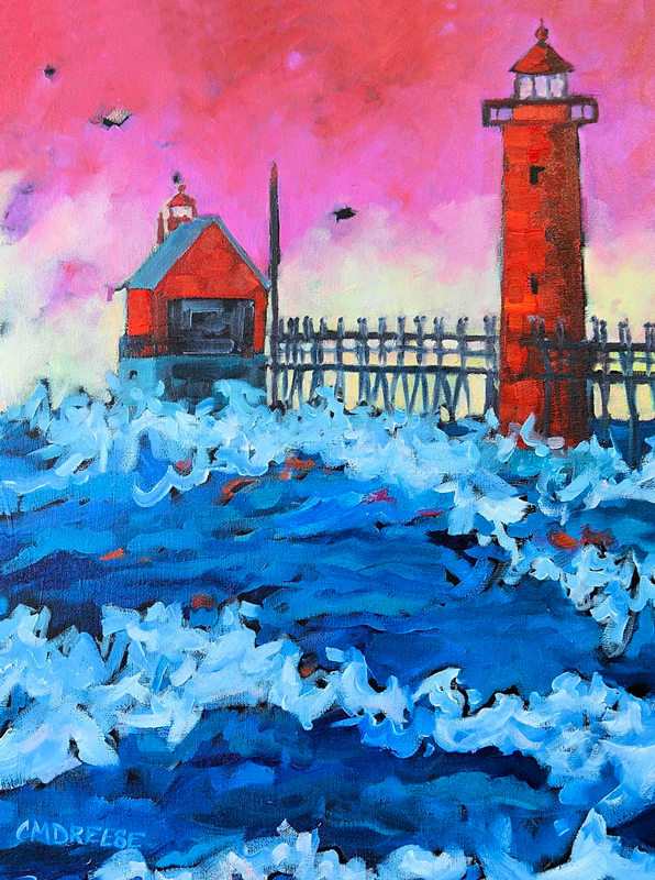 original painting of the grand haven pier and lighthouse