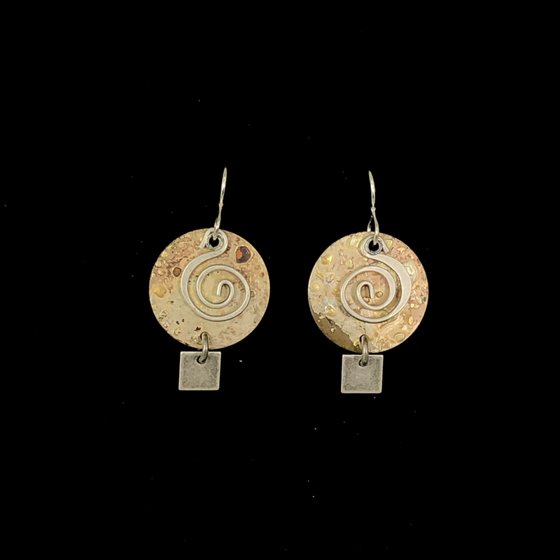 disc earrings with square charms on bottom
