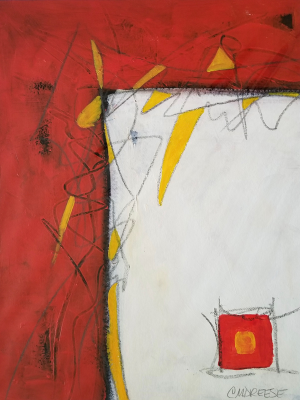 original abstract paintings in red, yellow, white