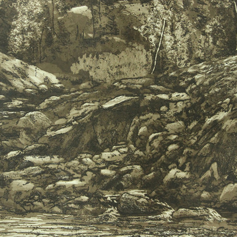 photo of hand pulled print featuring water, rocks and woods